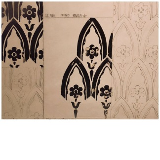 Part of the process of creating the recurring wall motif. Image © Naomi Daw/Brighton Museums.